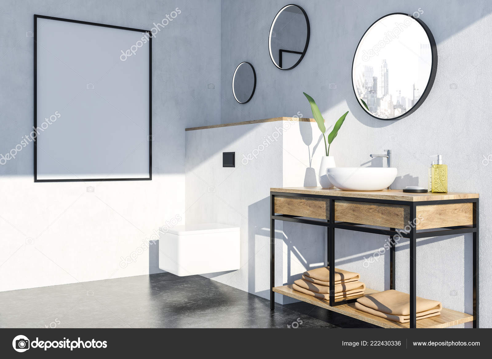Espejos Redondos Lavabo.Interior Del Cuarto Bano Lujo Con Paredes Blancas Piso Negro