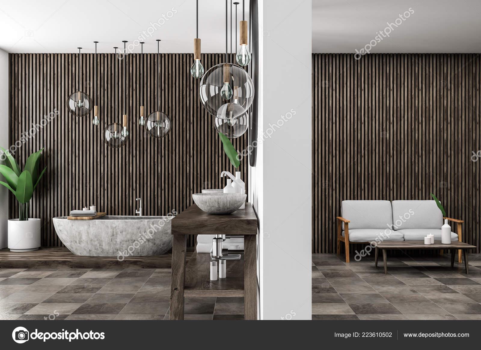 Intérieur Salle Bains Moderne Avec Des Murs Bois Foncés ...