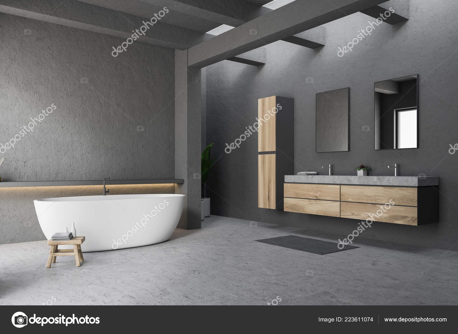 Sala Da Bagno Moderna : Angolo della stanza bagno moderna con pareti grigie pavimento vasca