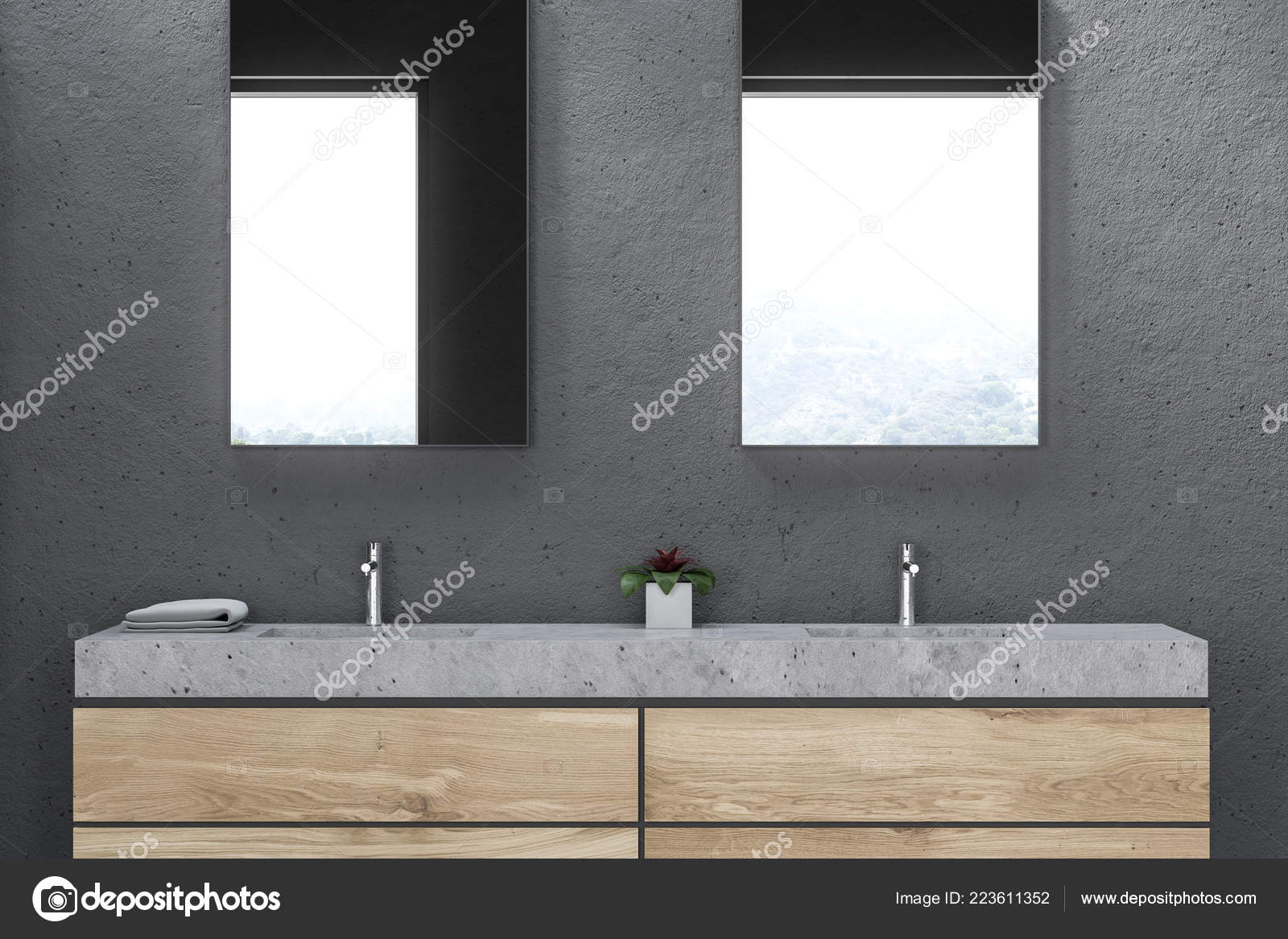 Gros Plan Salle Bain Double Vasque Marbre Tenant Debout Sur