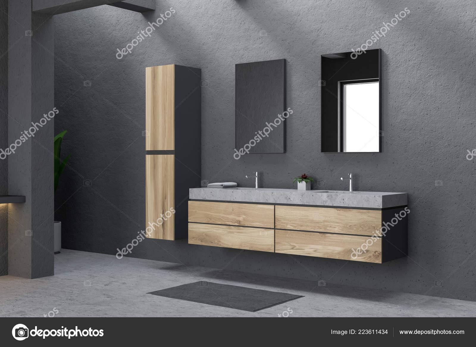 Fußboden Modern ~ Ecke des modernen badezimmer mit grauen wänden fußboden aus beton