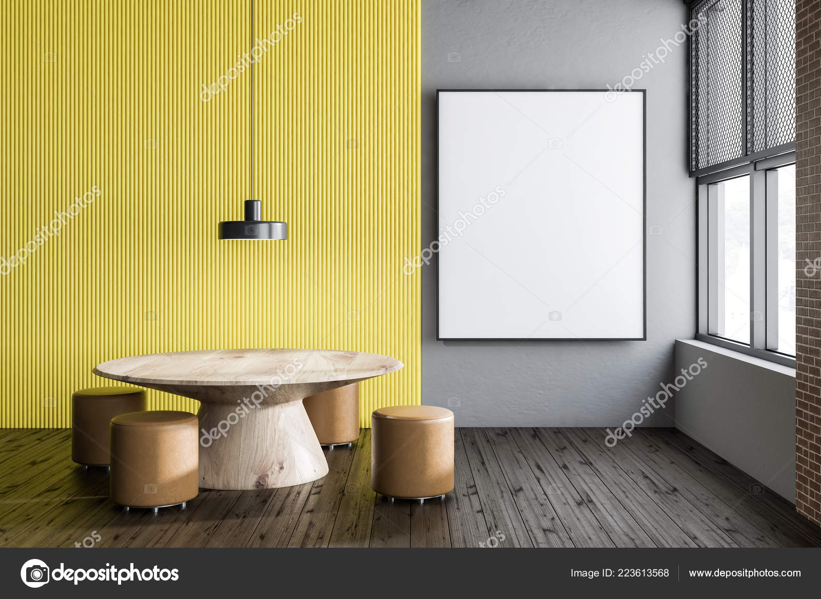 Interior Dining Room Gray Yellow Walls Wooden Floor Table