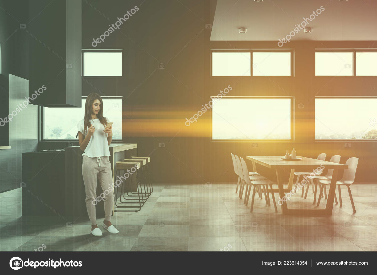 Depositphotos_223614354 Stock Photo Woman Modern Kitchen Dining Room