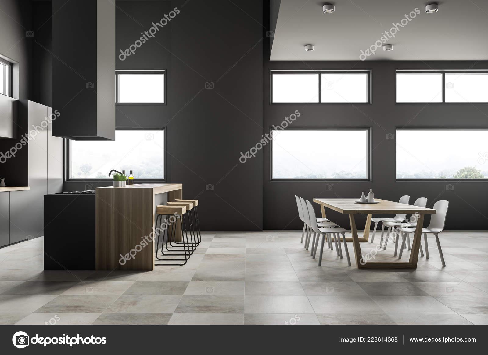 Interior Cocina Comedor Con Paredes Gris Suelo Baldosa Armarios Gris ...