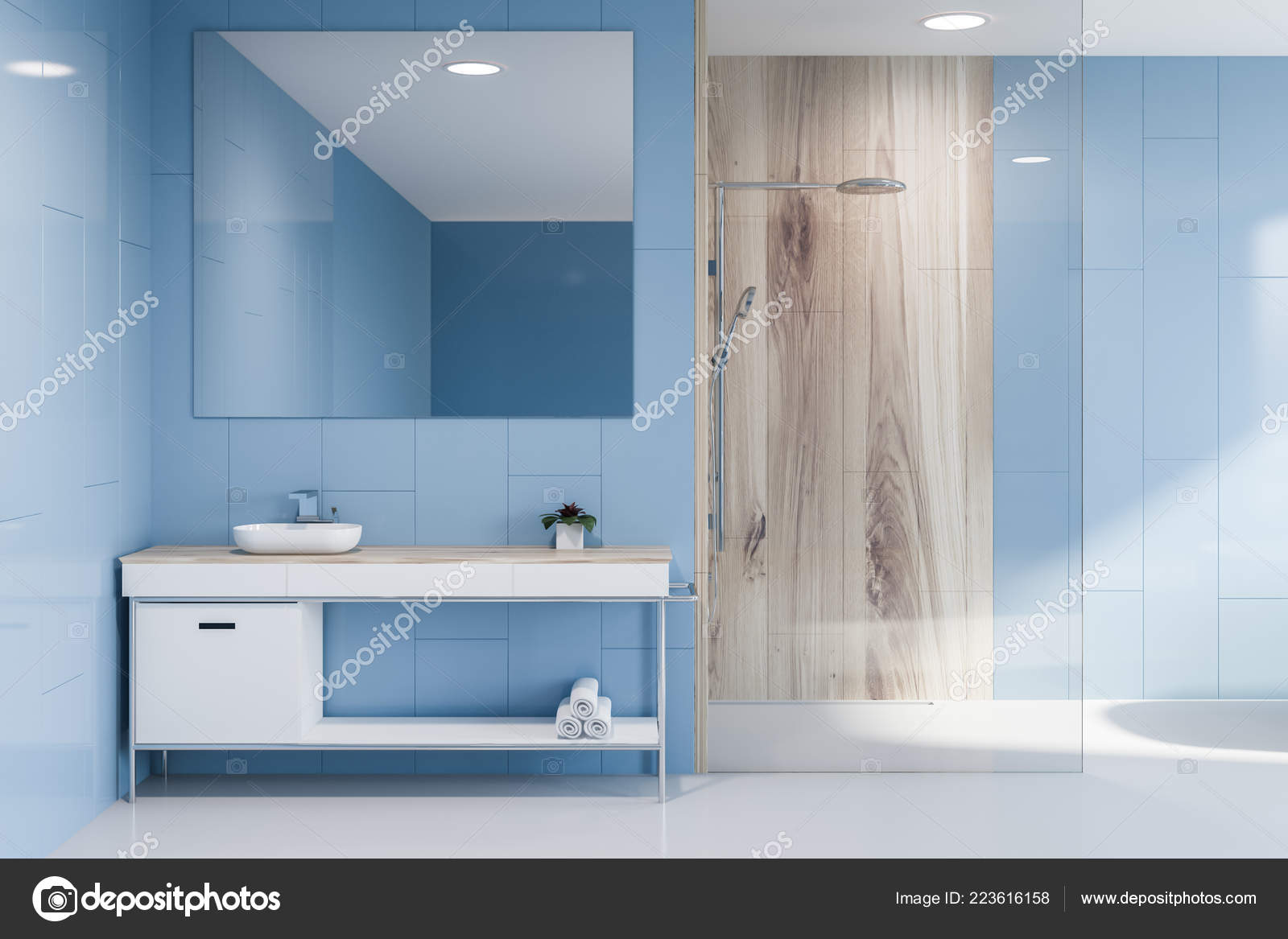 Marrone E Blu Arredo Bagno In Tessuto Con Ganci Single Window With White Curtain On A Wooden Made Foto Di Casa Di Boscaiolo Scenery Decor Shower Shower Casa E Cucina Tende Da