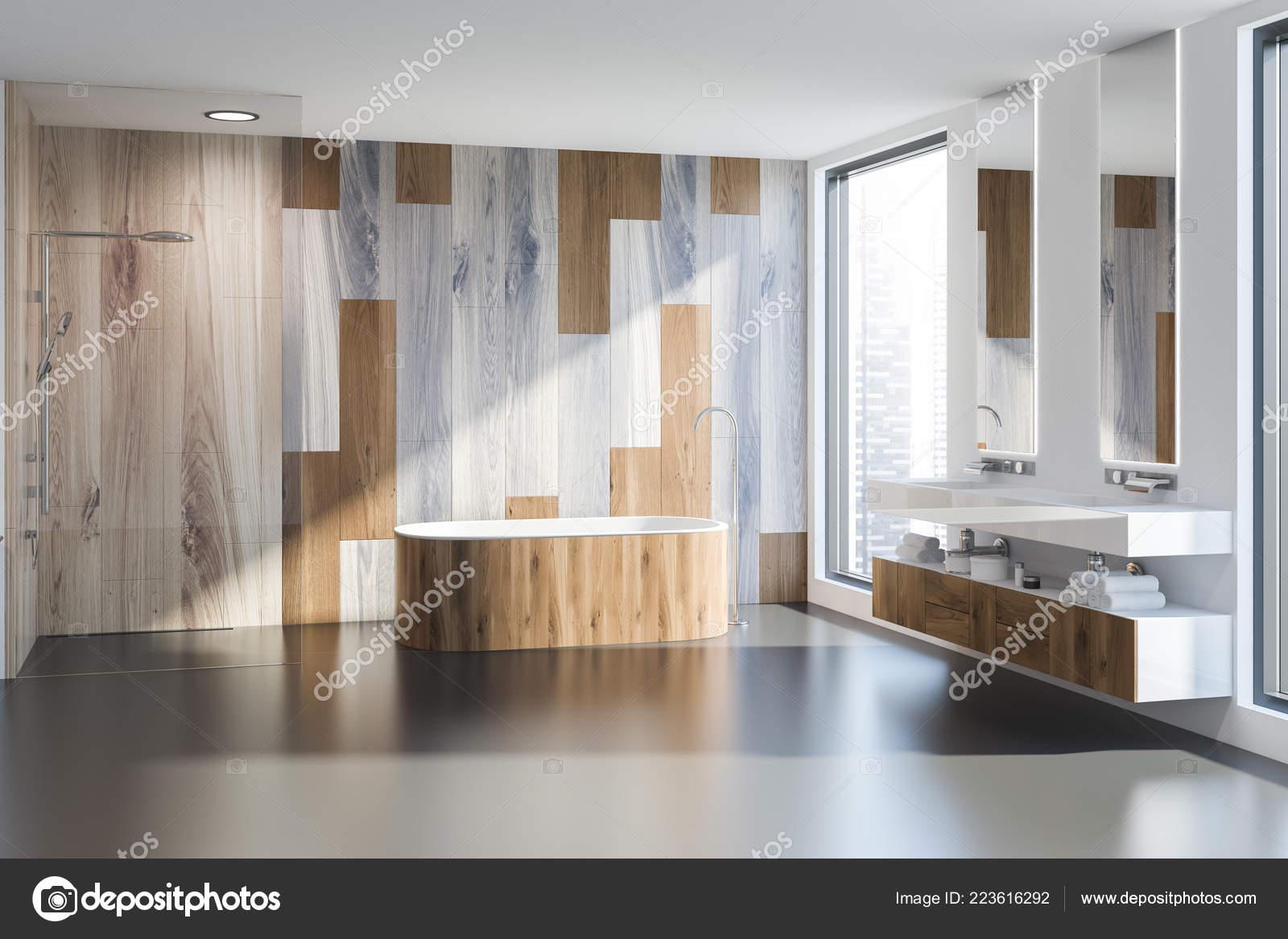 Interior Cuarto Baño Moderno Con Paredes Gris Madera Tina Madera ...