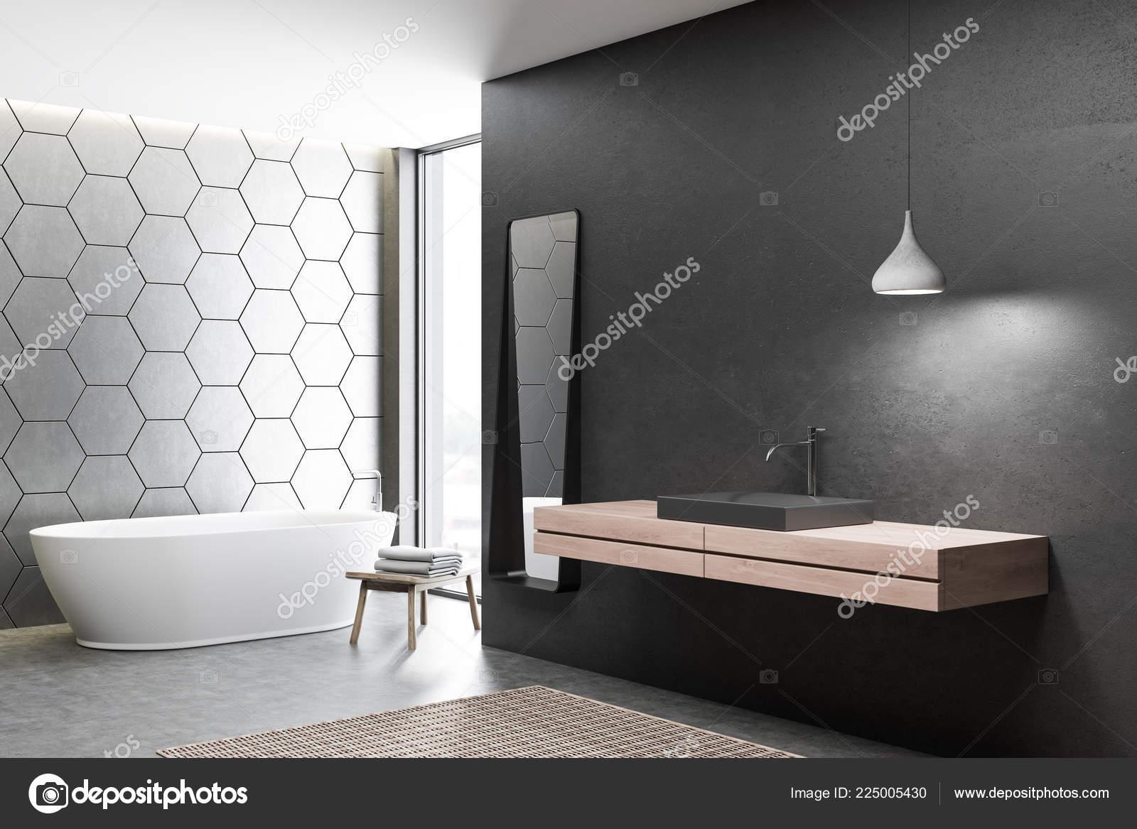 Ecke Des Modernen Badezimmer Mit Schwarzen Und Grauen Waben ...