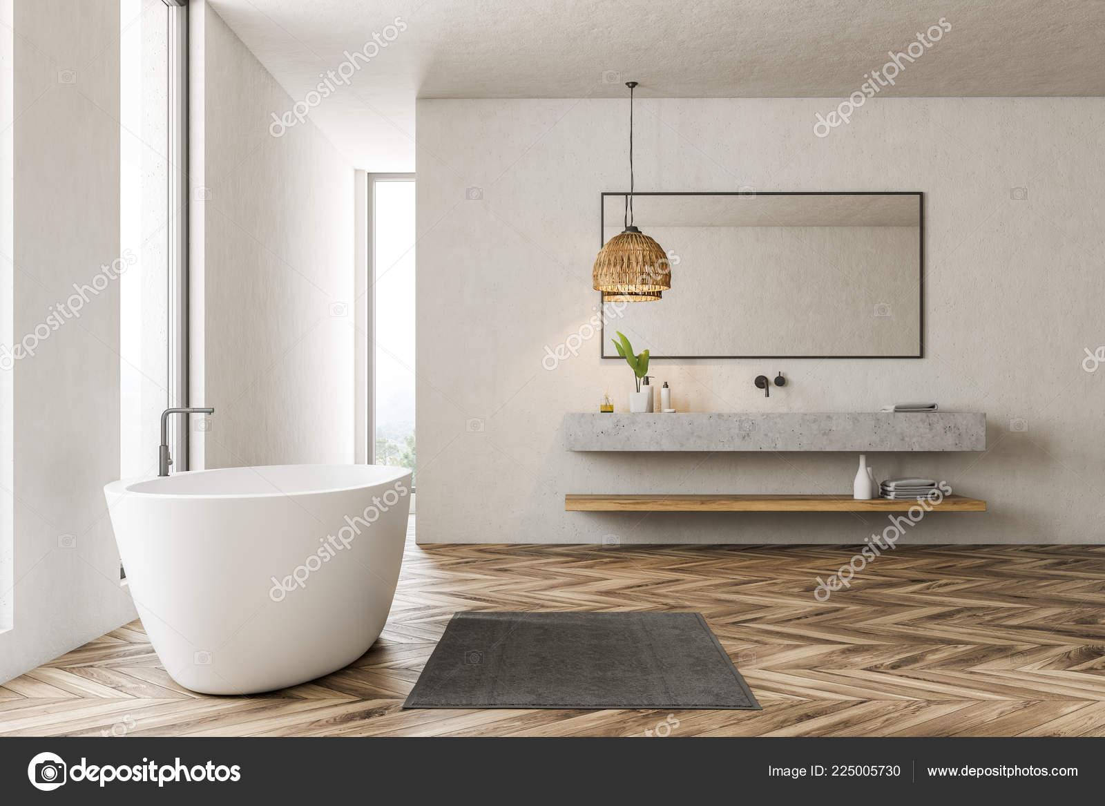 Vue Latérale Intérieur Salle Bains Moderne Avec Murs Blancs ...