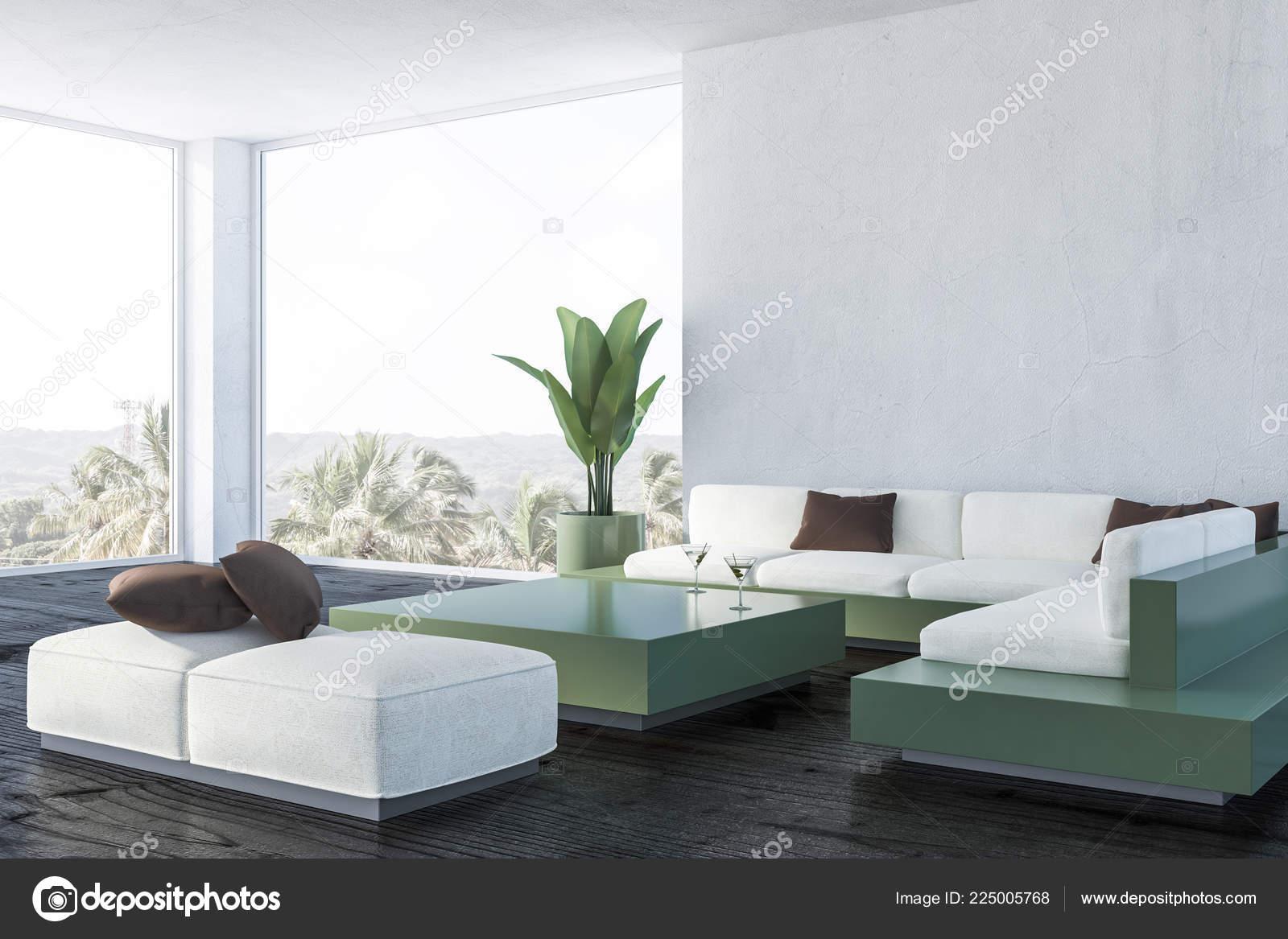 Corner Modern Living Room White Walls Dark Wooden Floor White Stock Photo C Denisismagilov 225005768