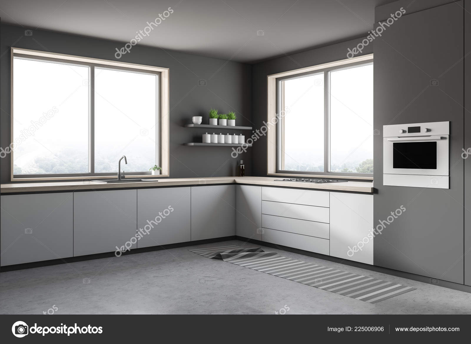 Corner Modern Kitchen Gray Walls Concrete Floor Small