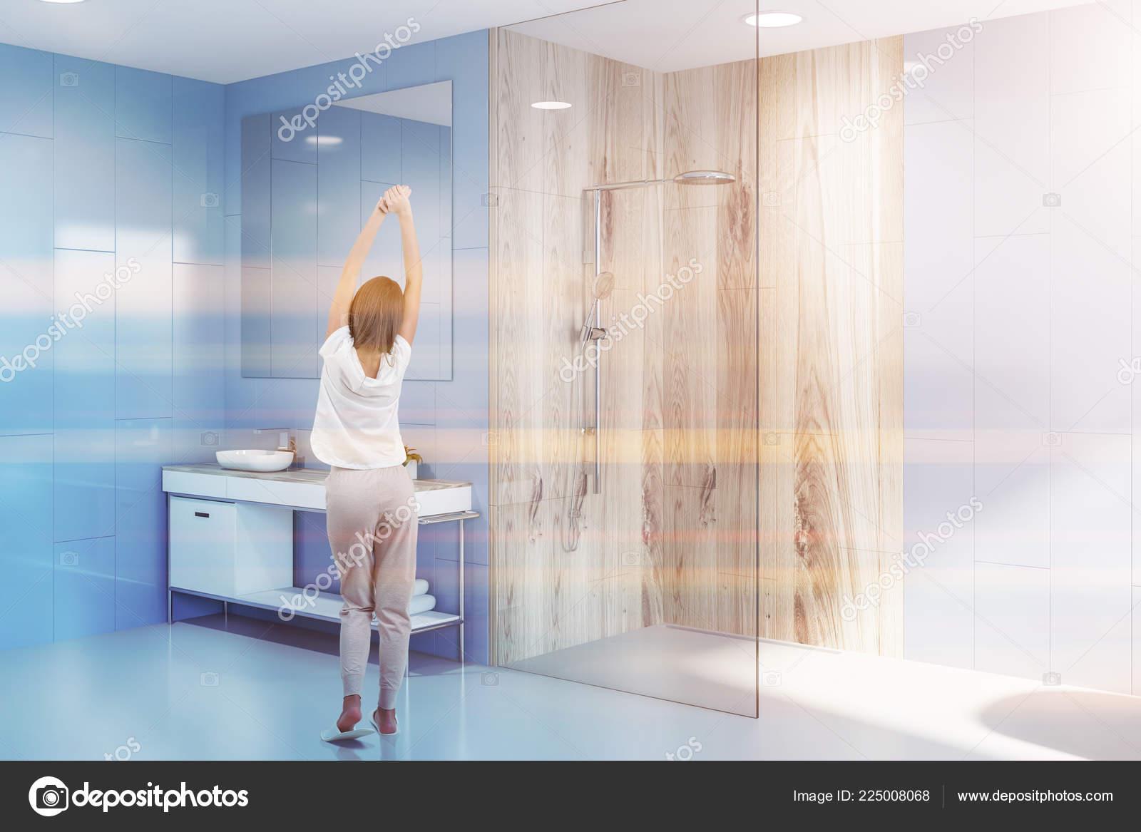Depositphotos & Woman Modern Bathroom Blue Walls White Floor Glass Wooden ...
