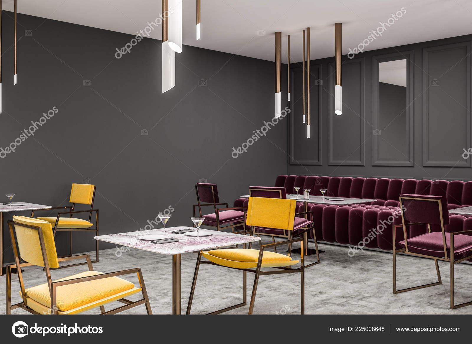 376dd73ae908 Esquina Restaurante Moderno Con Paredes Gris Piso Concreto Sofá Rojo —  Fotos de Stock