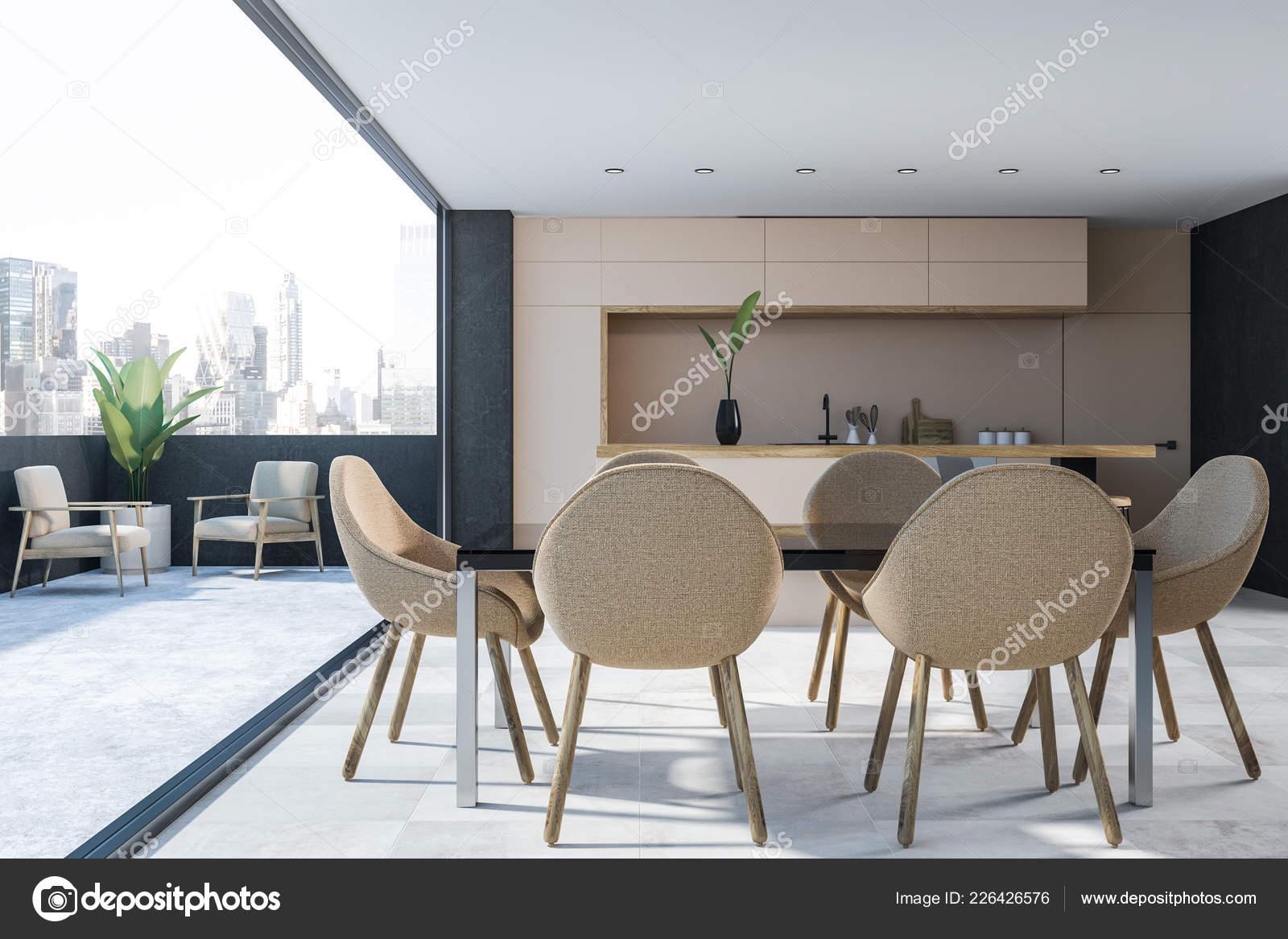 Interior Modern Kitchen Gray Walls White Floor Beige Countertops