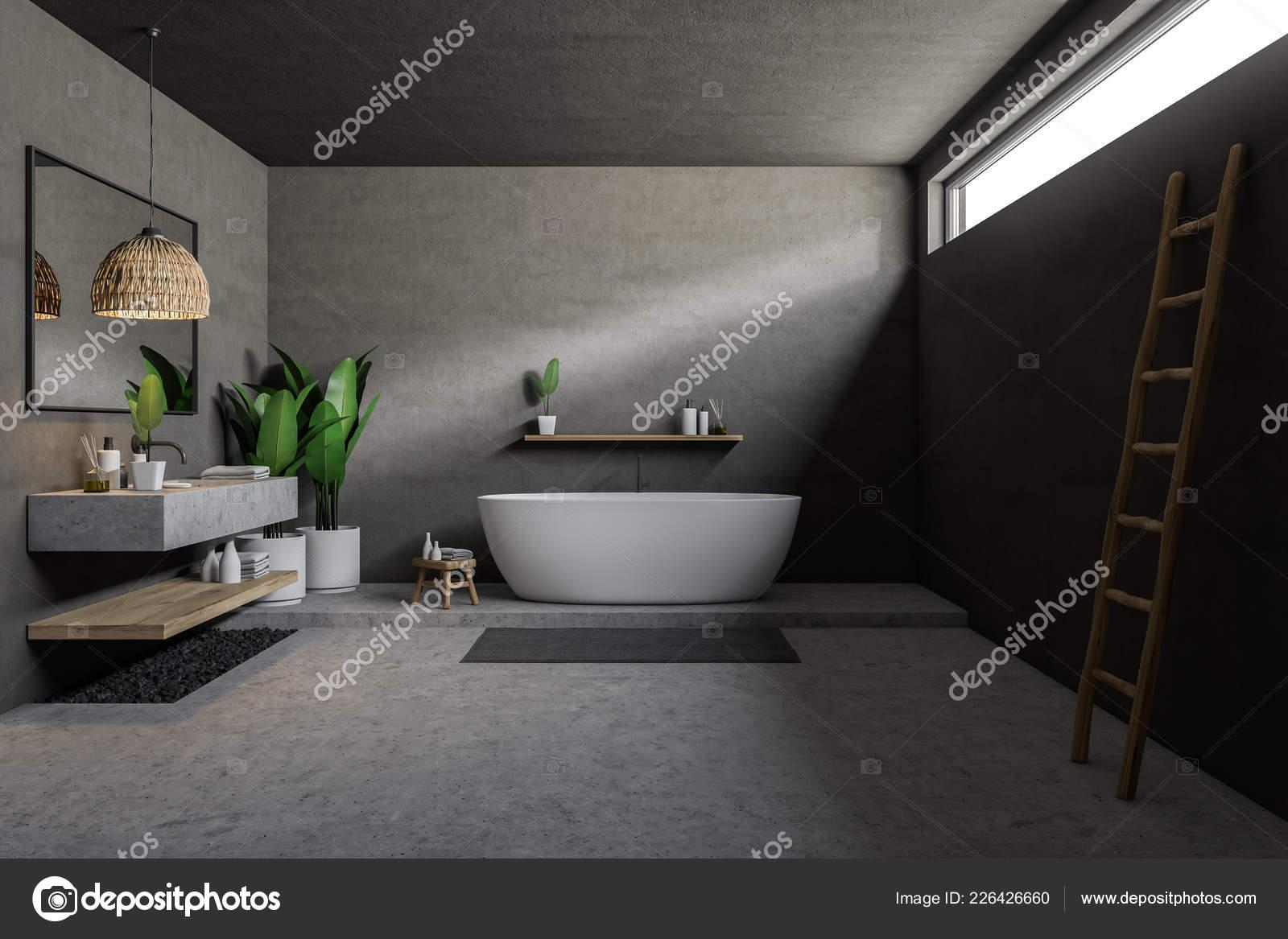 Vasca Da Bagno In Cemento : Bagno grigio interni con pavimento cemento vasca bagno bianca