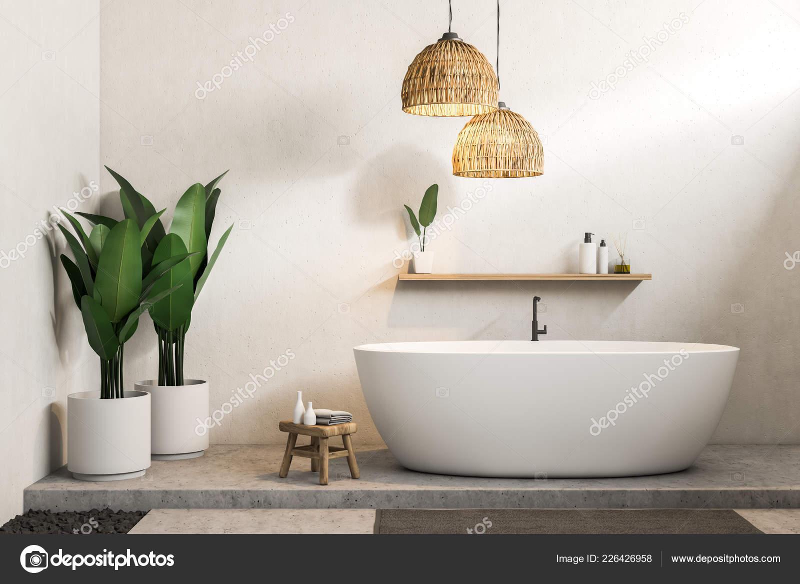 Vasca Da Lavare In Cemento : Interno del bagno moderno con pareti bianche pavimento cemento