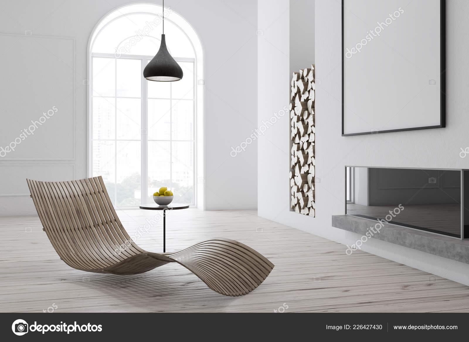 Coin Salon Moderne Avec Murs Blancs Parquet Cheminee Bois