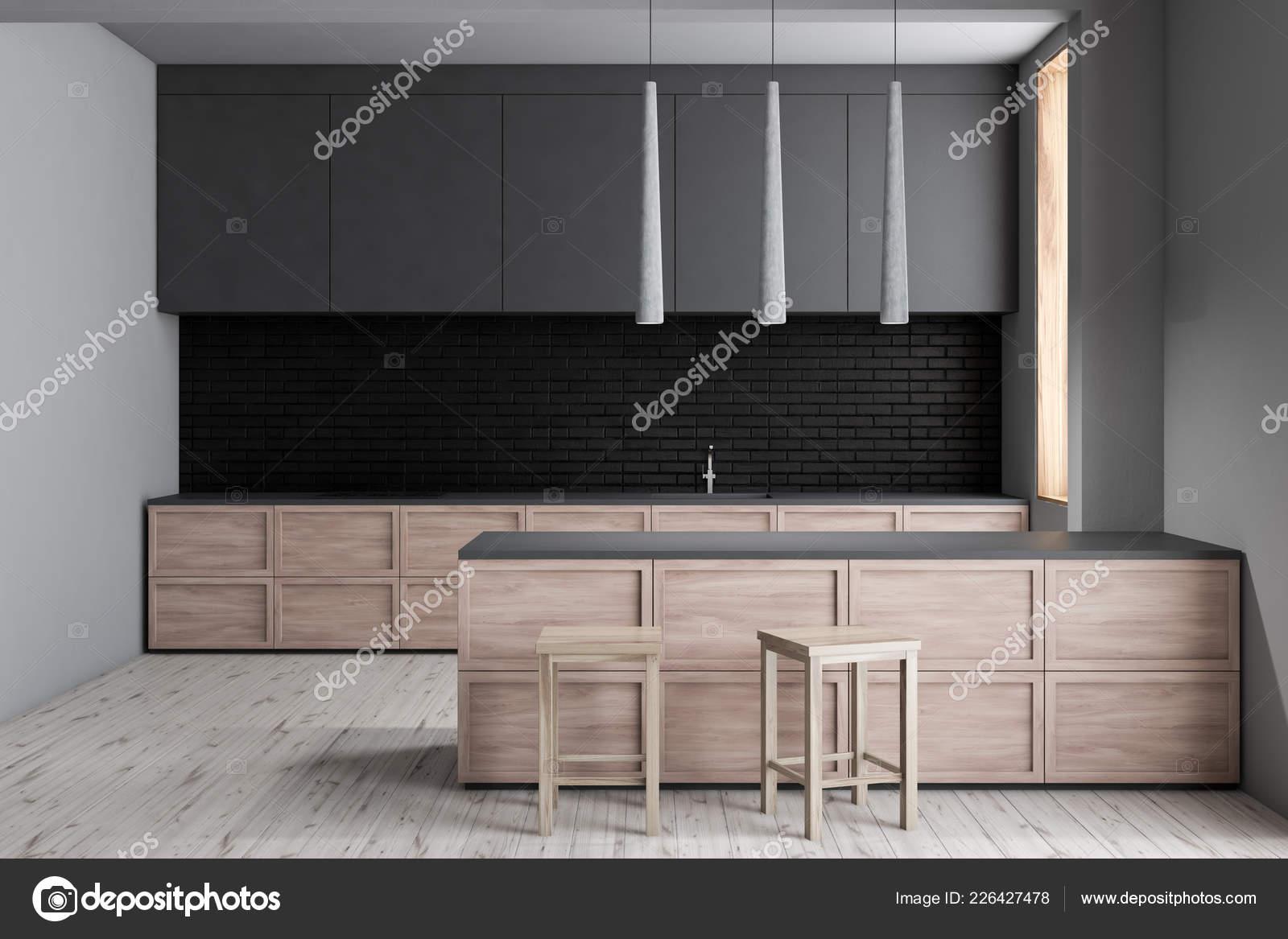 Muri Interni Grigi : Interni cucina moderna con muri mattoni bianchi neri pavimento