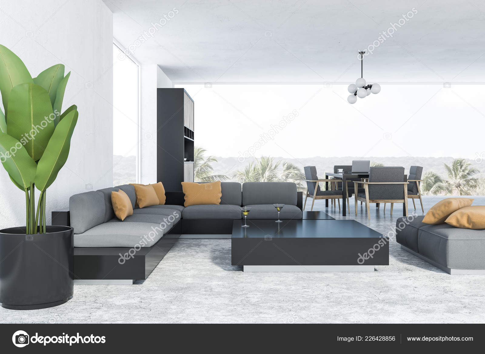 Fußboden Im Eßzimmer ~ Interieur aus wohn und esszimmer mit weißen wänden fußboden aus