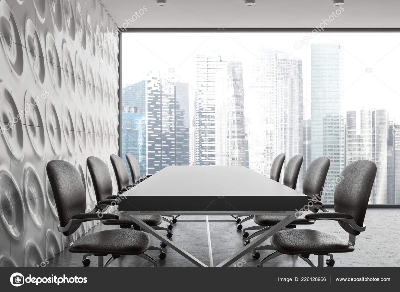 Office Meeting Room Interior White Geometric Wall Pattern Concrete