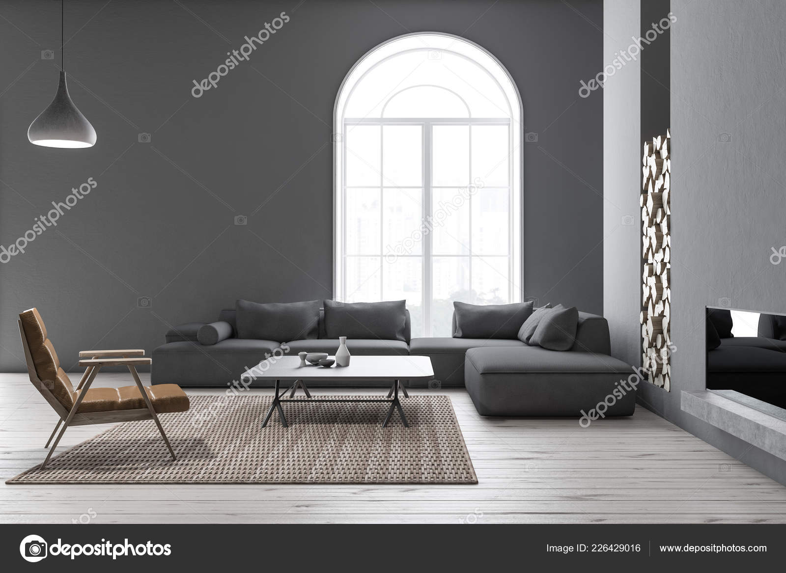 Interior Modern Living Room Gray Walls Wooden Floor Arched Window