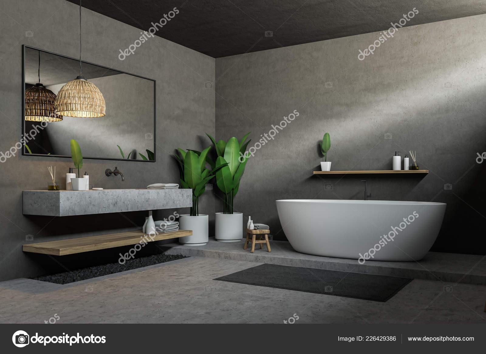 Vasca Da Lavare In Cemento : Angolo del bagno grigio con pavimento cemento vasca bagno bianca
