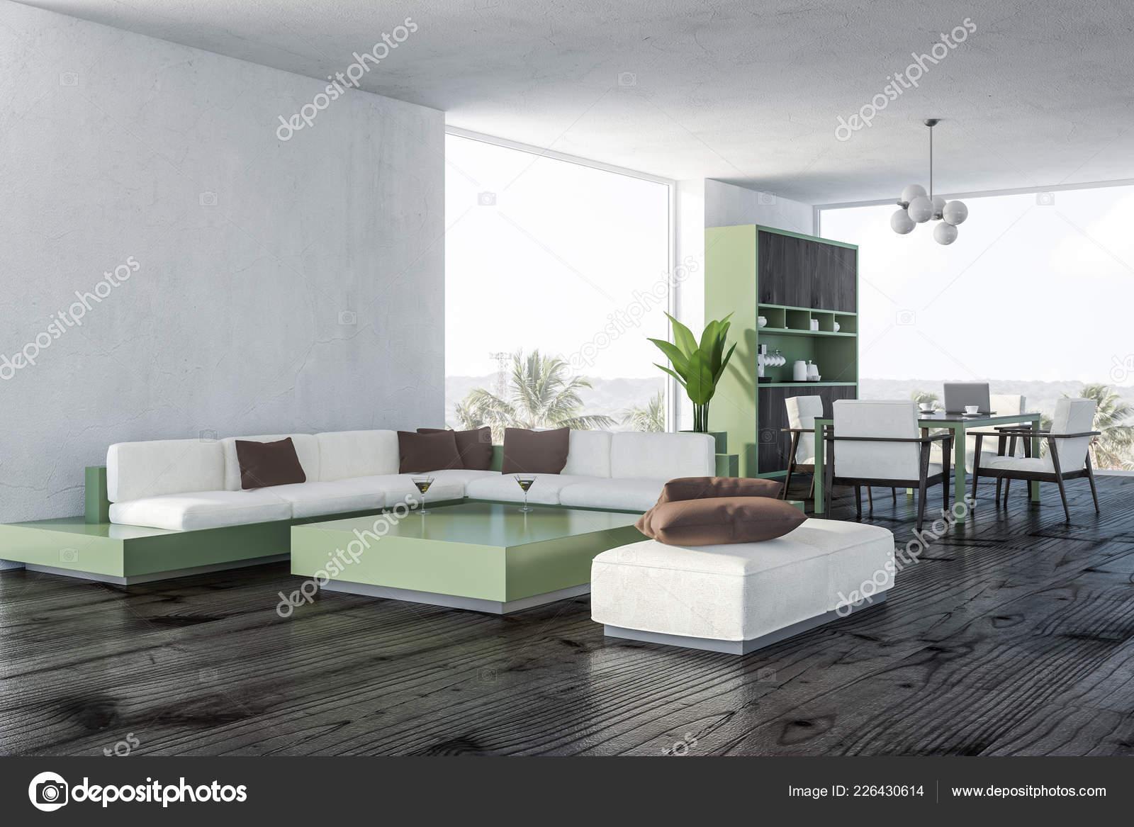 Corner Living Room Dining Room White Walls Wooden Floor White Stock Photo Image By C Denisismagilov 226430614