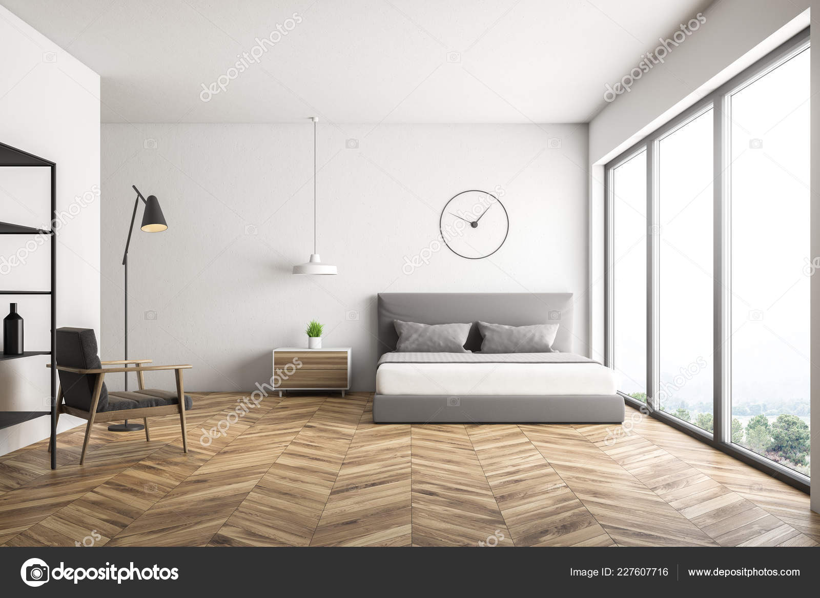 Master bedroom interior with white walls, wooden floor, bed with gray  covers, clock hanging above it, wooden bedside table and gray armchair. 8d