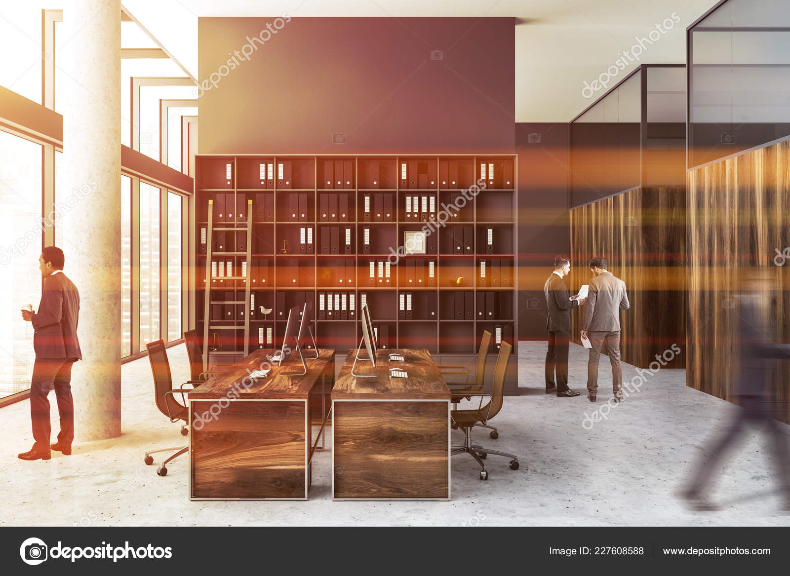 People Modern Office Gray Walls Concrete Floor Wooden