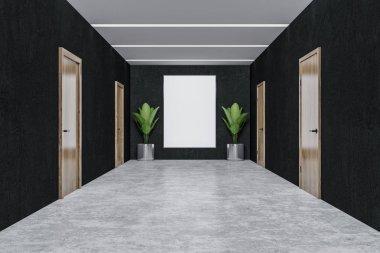 Interior of office corridor with black walls, closed wooden doors, concrete floor and vertical poster hanging between potted plants. 3d rendering mock up