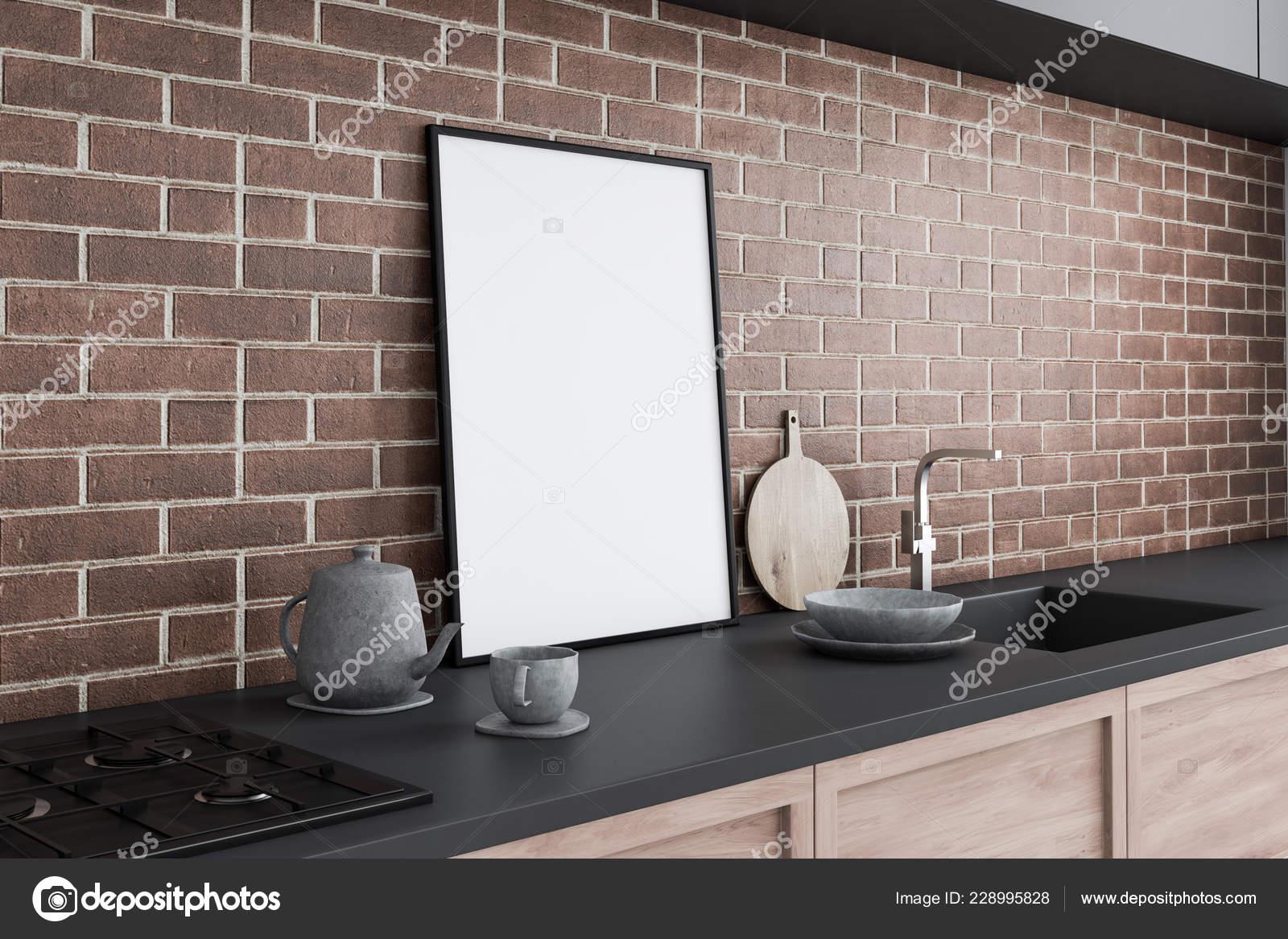 Seitenansicht Des Grau Und Holz Küchenarbeitsplatte Mit Waschbecken