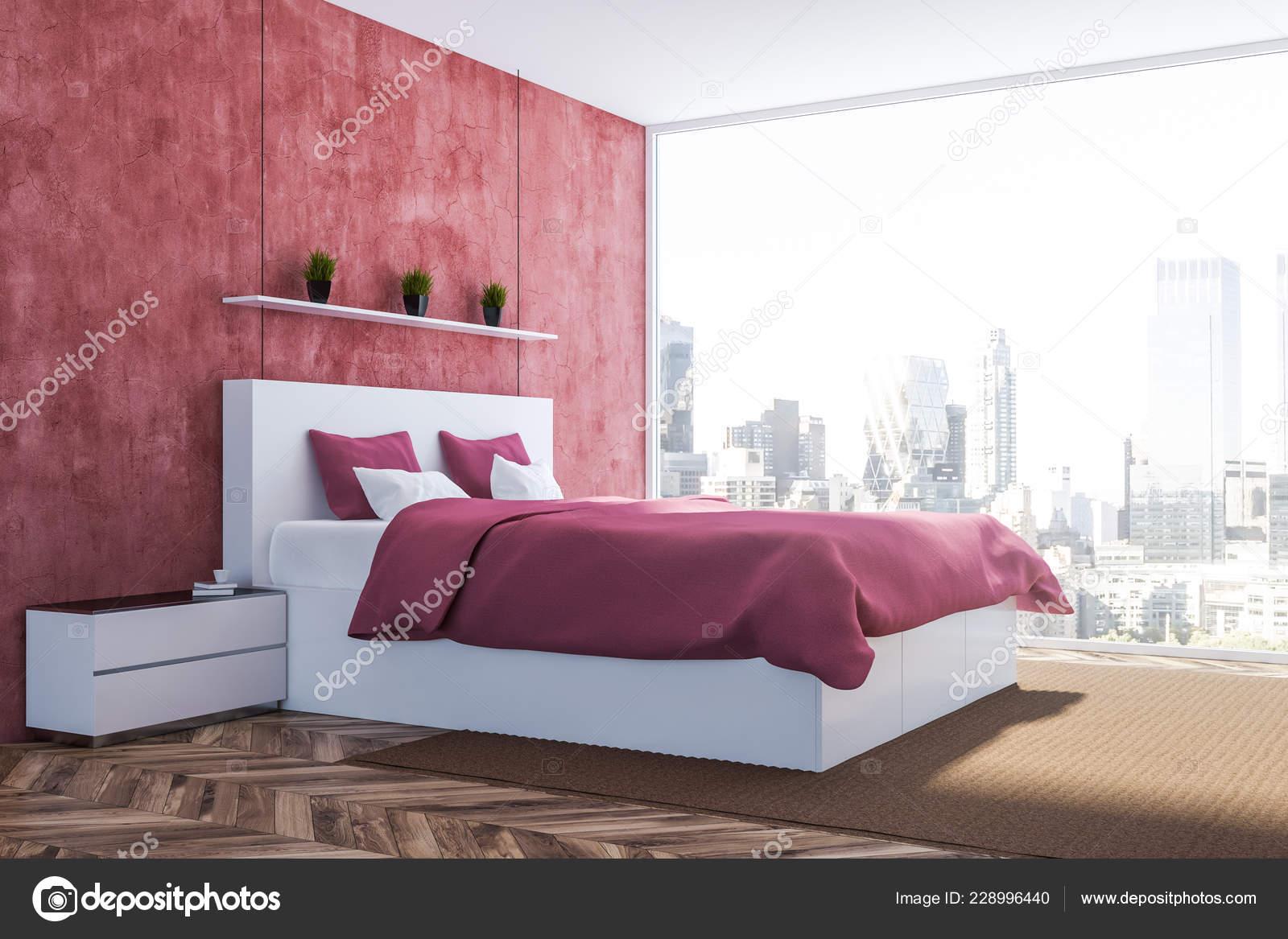 Coin Chambre Moderne Avec Les Murs Rouges Plancher Bois Lit ...