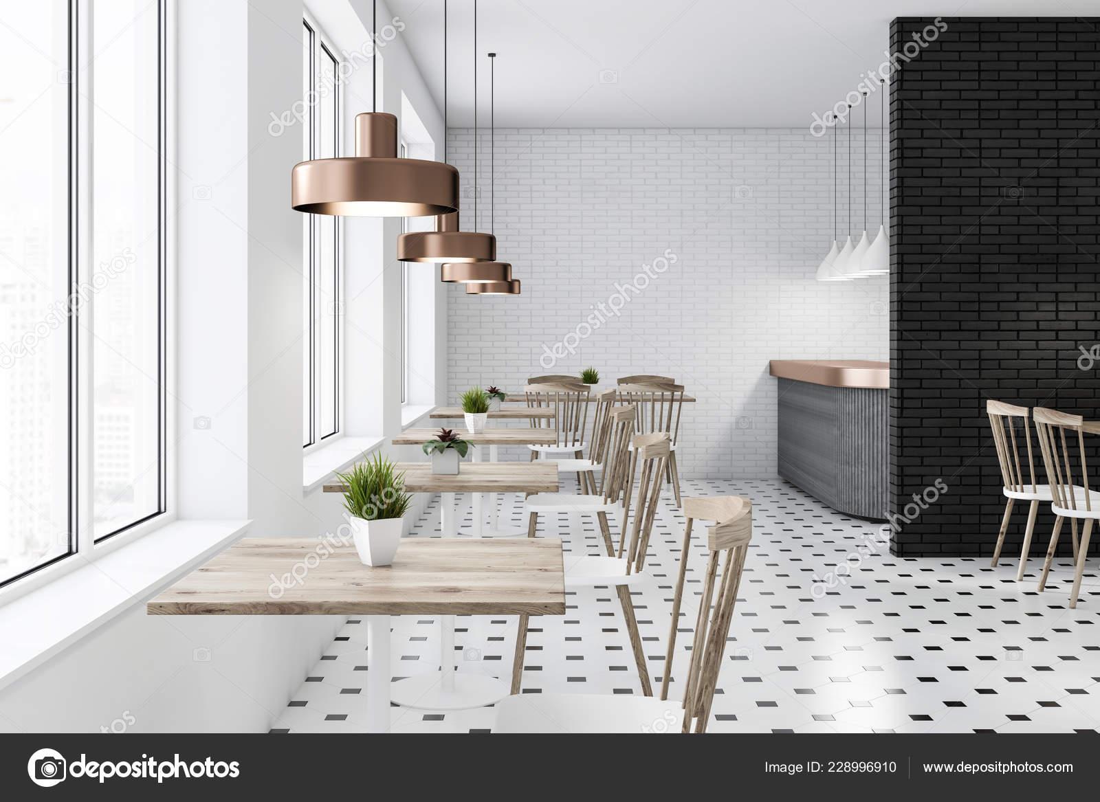 White Black Brick Restaurant Interior Tiled Floor Gray Bar Wooden Stock Photo C Denisismagilov 228996910