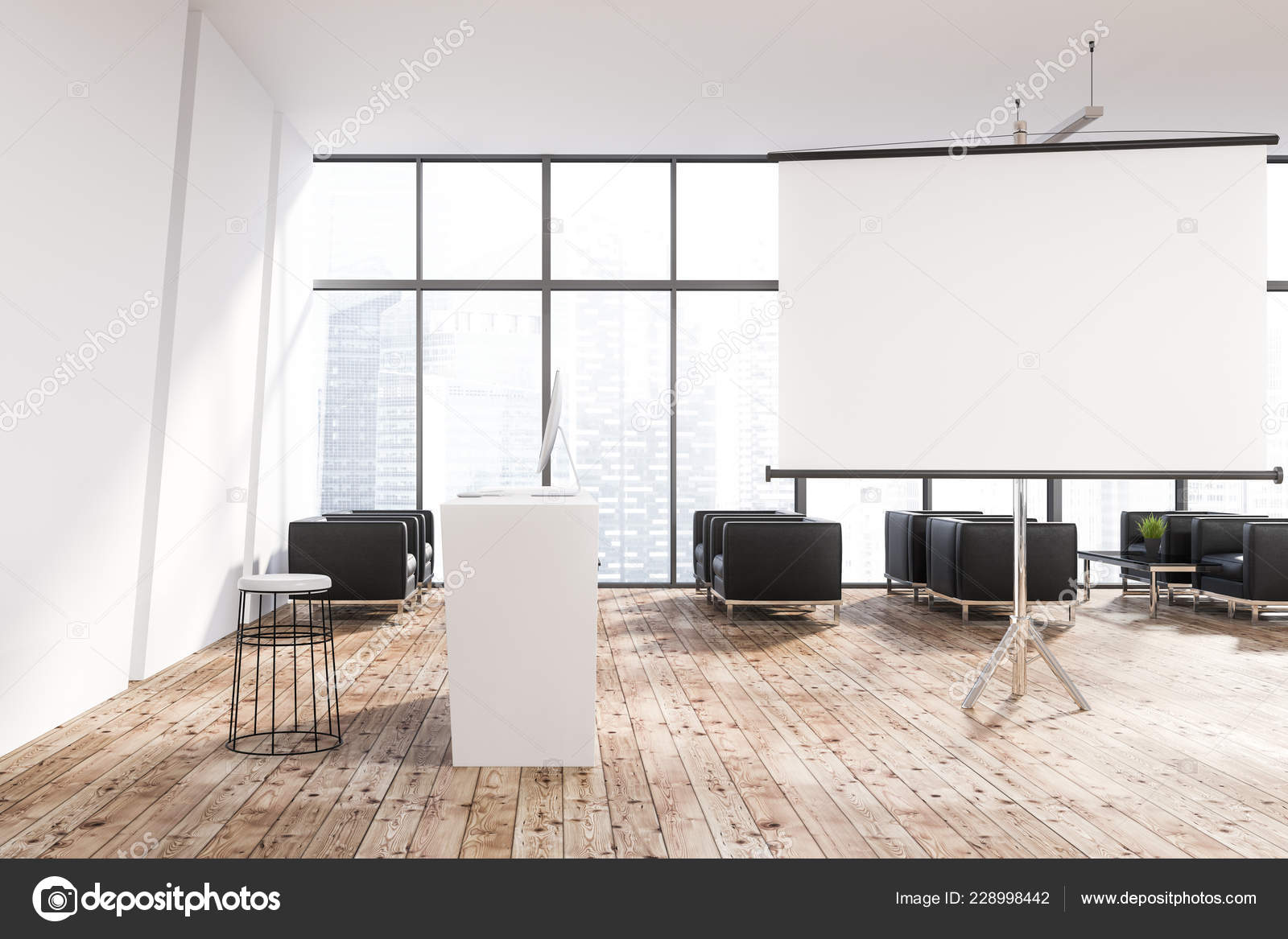 Modern Office Lounge Area White Walls Wooden Floor Large Windows U2014 Stock  Photo
