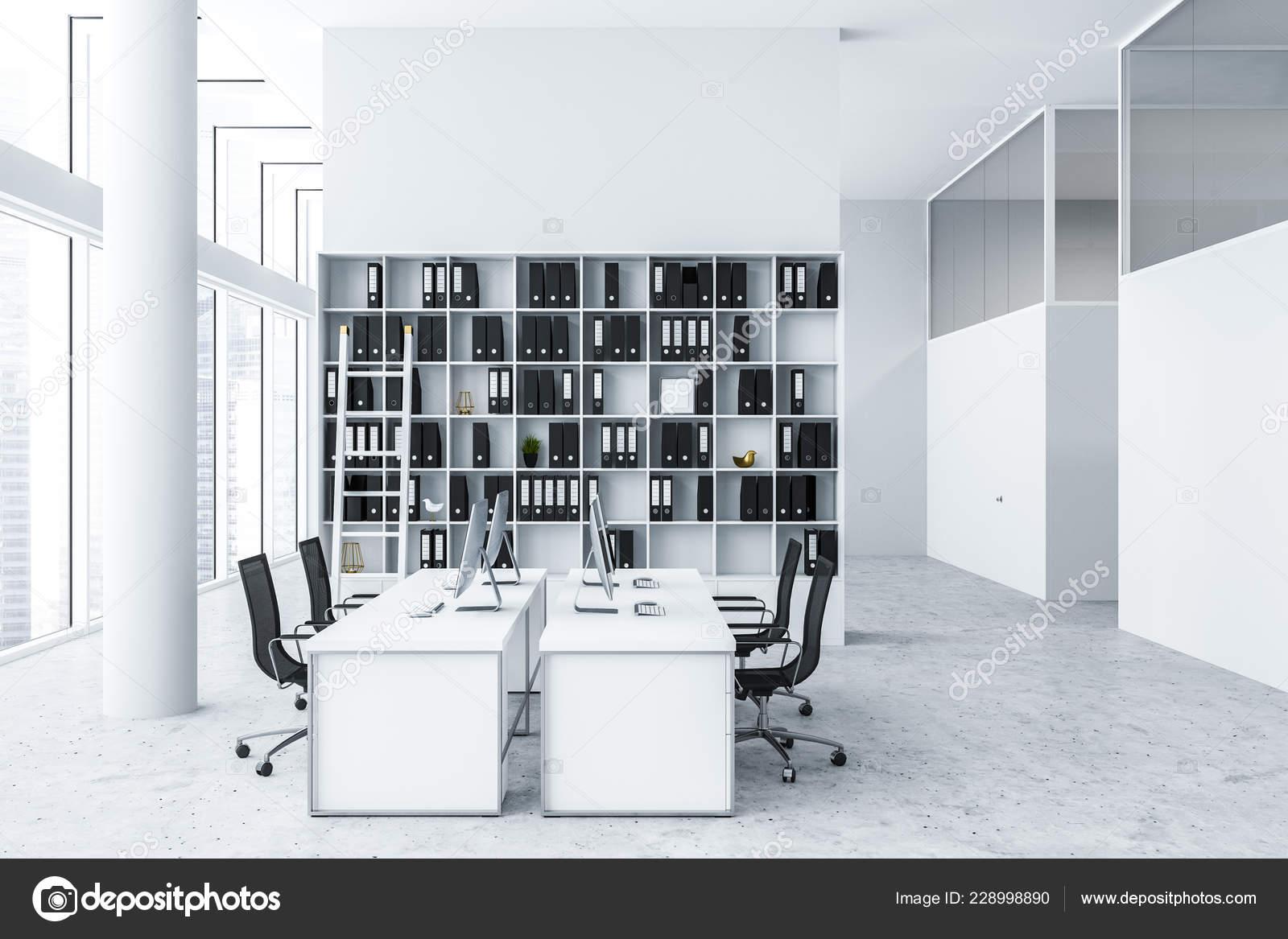 Interior Modern Office White Walls Concrete Floor White