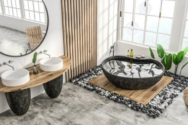 Corner of modern bathroom with white and wooden walls, concrete floor, stone bathtub and double sink with round mirror. 3d rendering