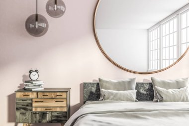 Master bedroom interior with pink and white walls, gray double bed with gray covers and pillows and round mirror hanging above it and wooden bedside table. 3d rendering