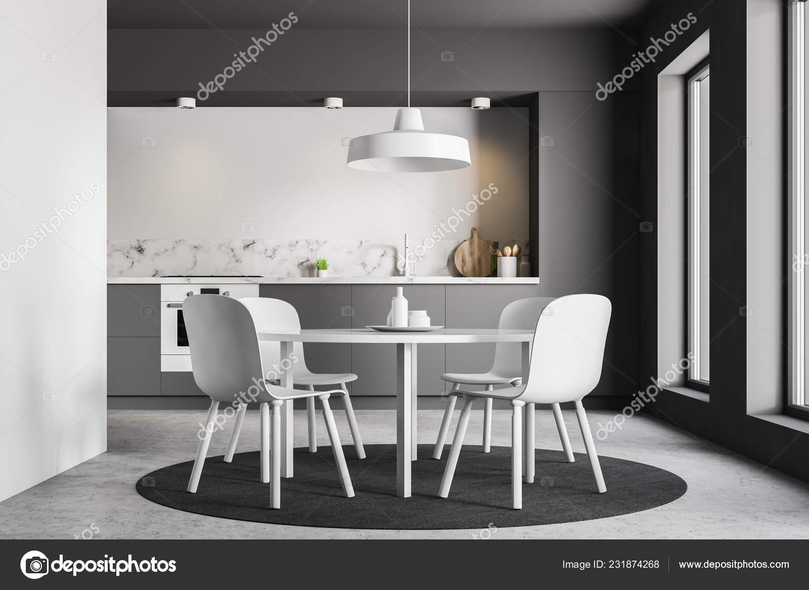 Tavolo Rotondo Bianco Con Sedie Bianche Piedi Cucina Moderna ...