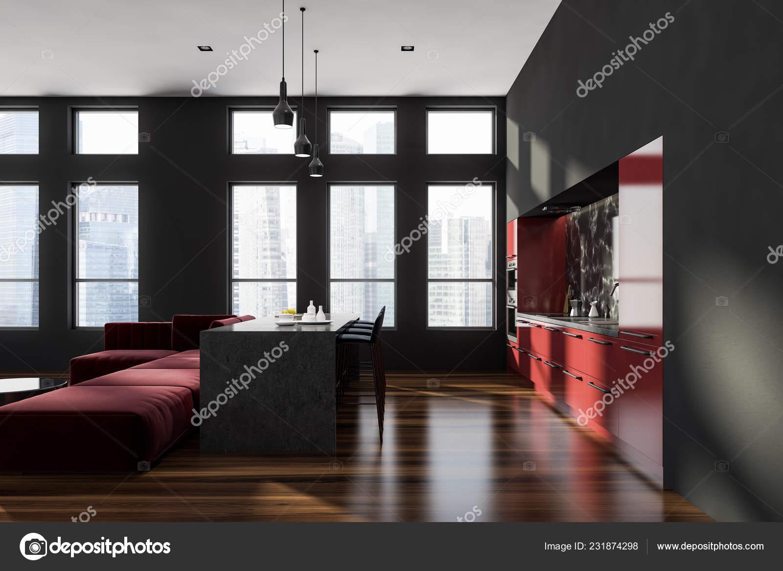 Interiore della cucina moderna con pareti marmo neri neri pavimento