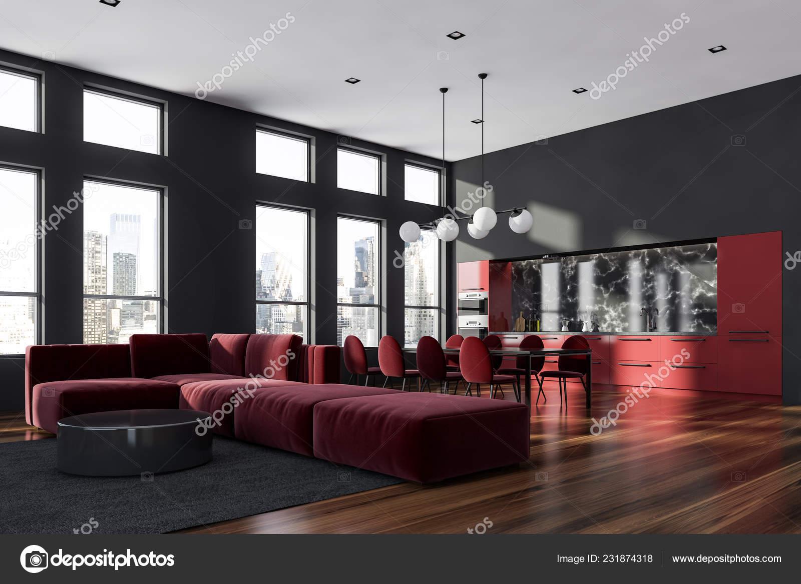 Corner Living Room Modern Studio Apartment Gray Walls Wooden Floor