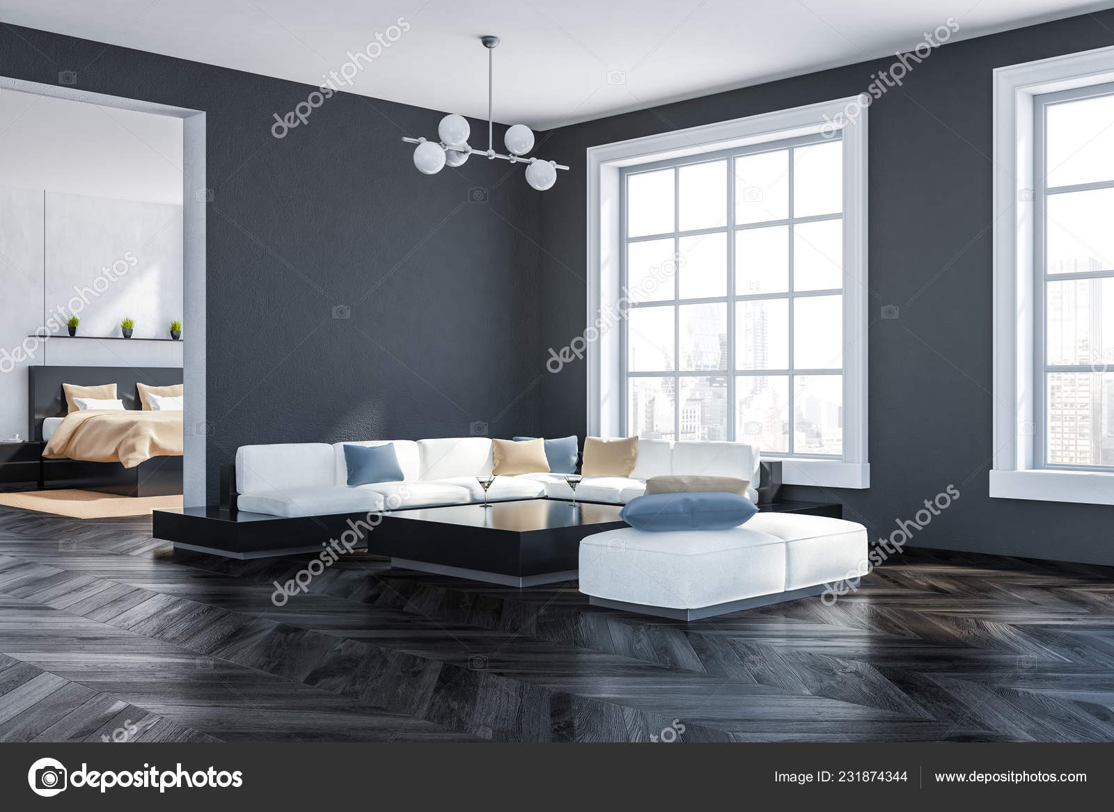 Ecke Des Wohnzimmers Mit Grauen Wanden Dunklen Holzboden Grosse