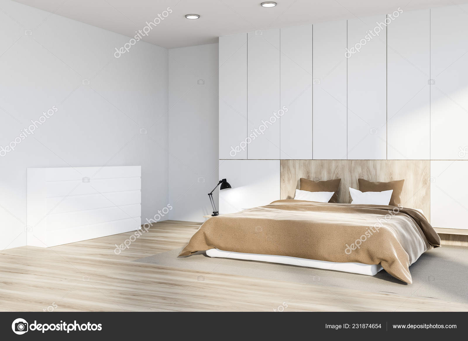 Corner Master Bedroom White Walls Wooden Floor Carpet White Wooden Stock Photo Image By C Denisismagilov 231874654