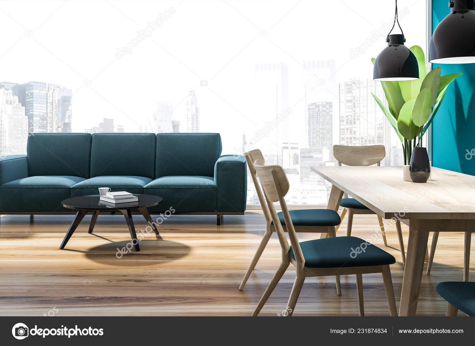 Interior Panoramic Living Room Blue Walls Wooden Floor Blue Sofa Stock Photo C Denisismagilov 231874834