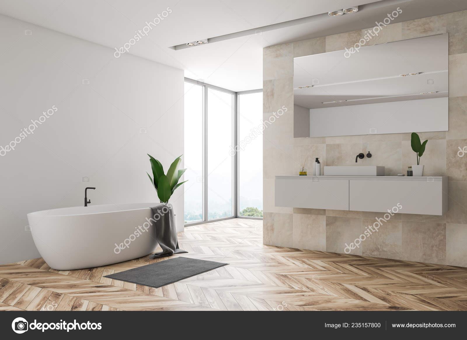 white wall tile bathroom