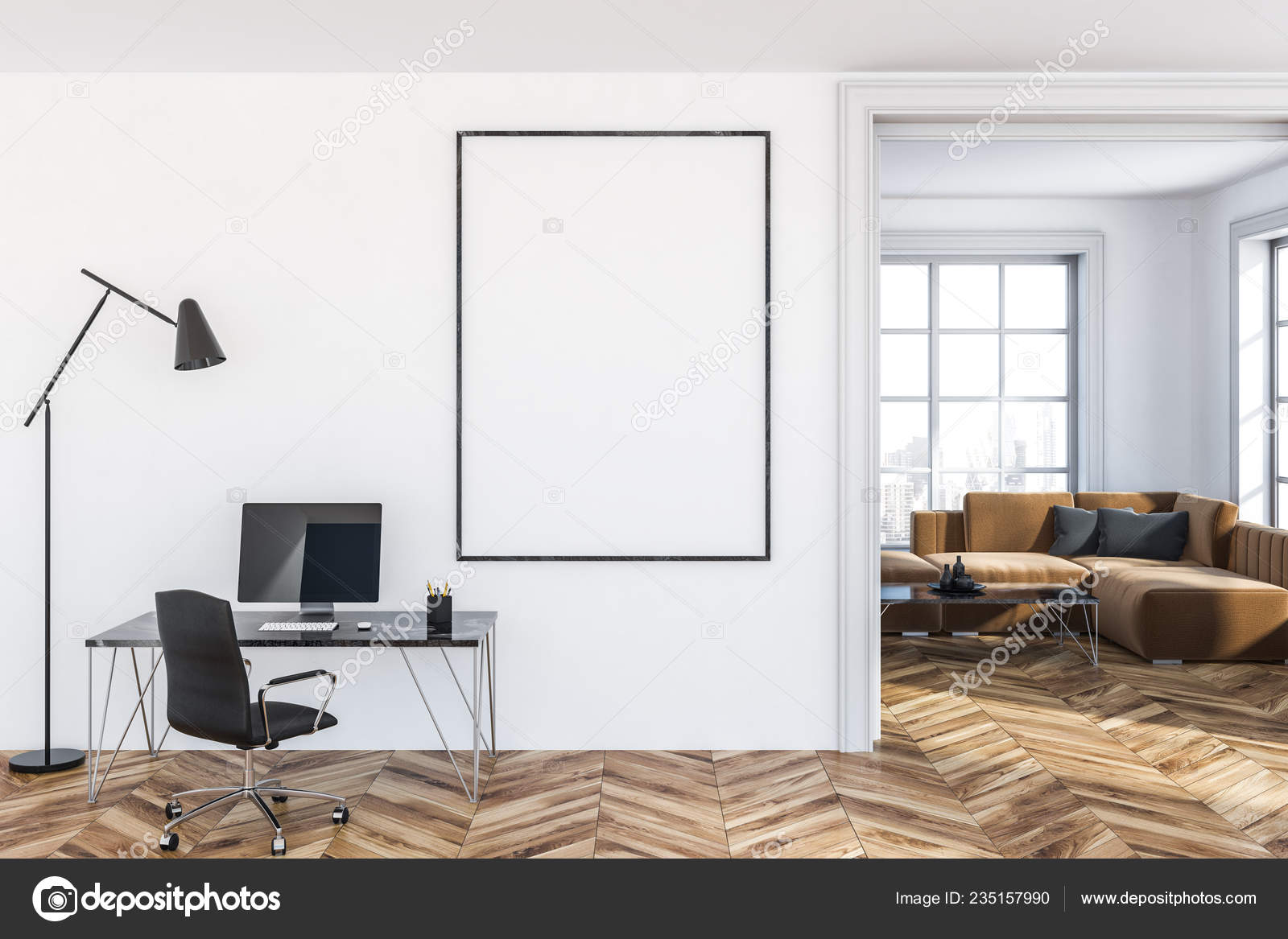 Home Office White Walls