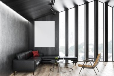 Attic living room interior with dark wooden walls, wooden floor, soft black leather sofa and beige armchair near coffee table. Vertical poster. 3d rendering mock up
