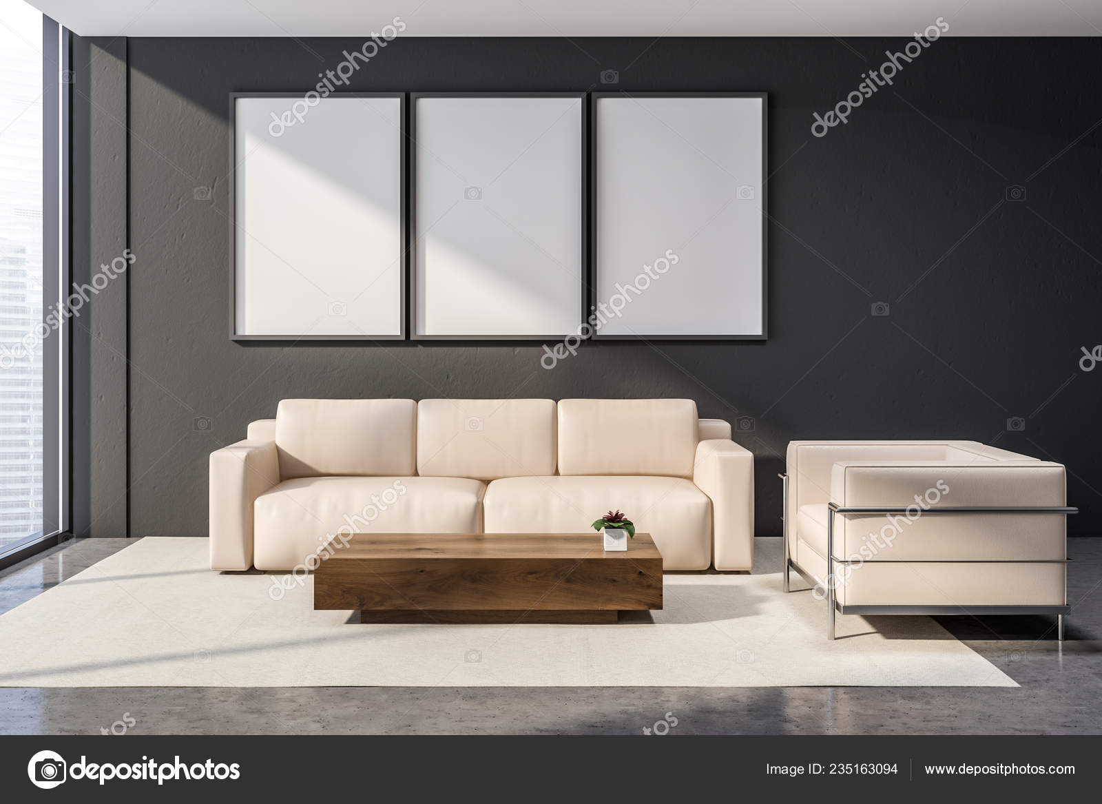 Awesome Office Waiting Room Interior Gray Walls Concrete Floor Beige Dailytribune Chair Design For Home Dailytribuneorg