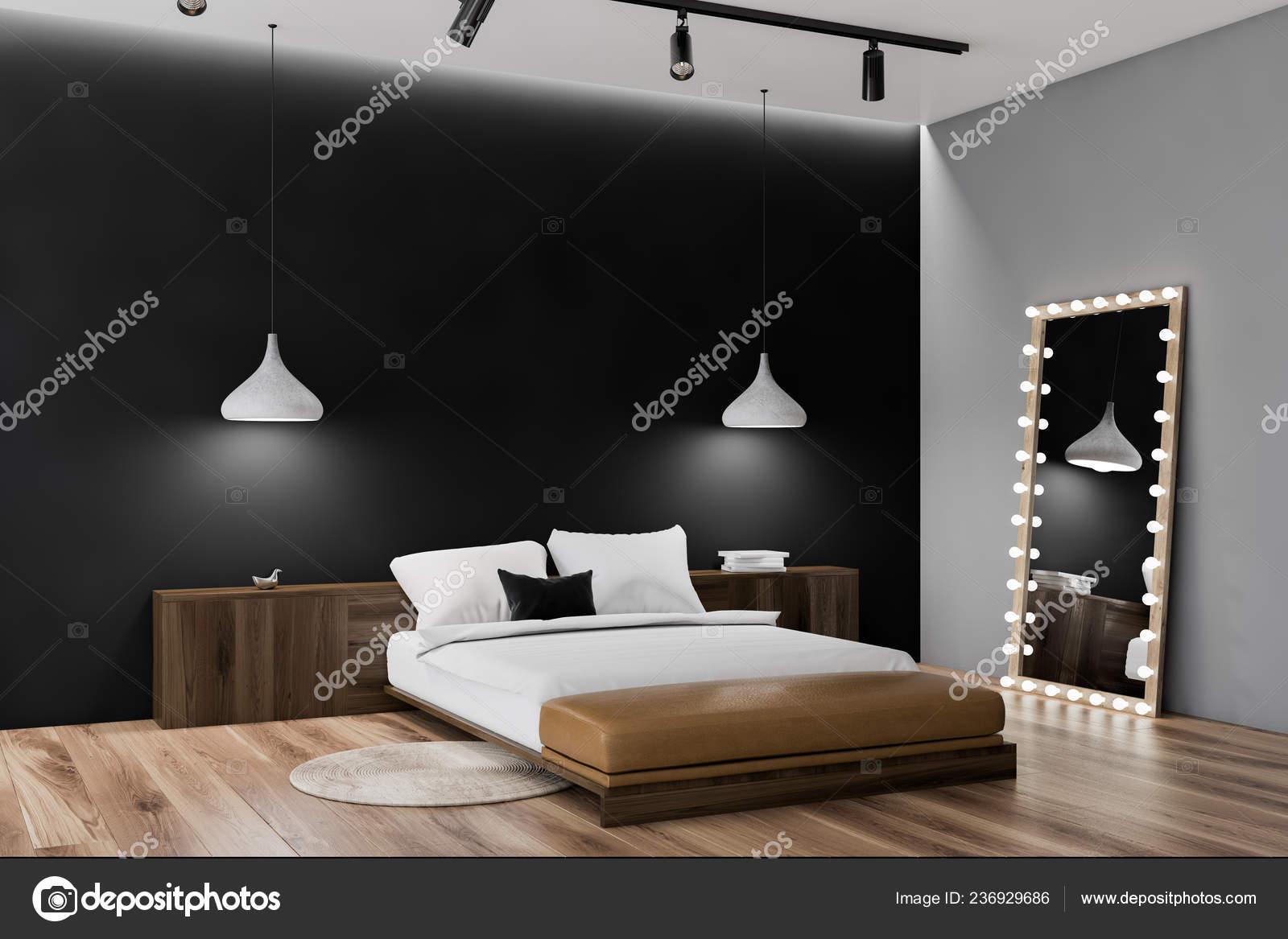 Narożnik Sypialnia Czarne Szare ściany Drewniane Podłogi