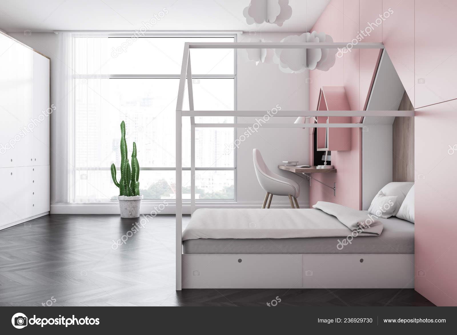 Side View Kids Bedroom White Pink Walls Dark Wooden Floor ...