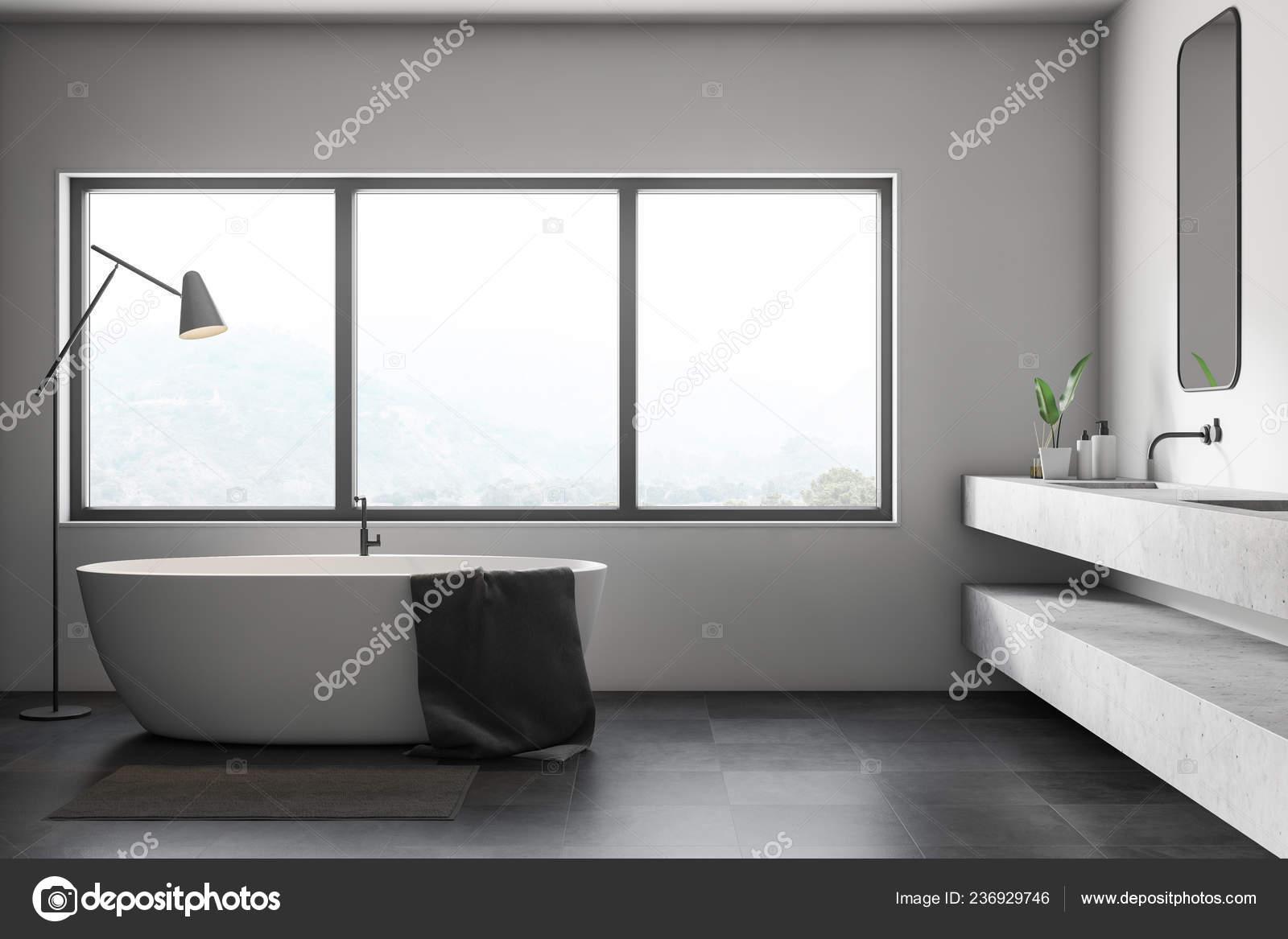 Intérieur Salle Bains Moderne Avec Des Murs Blancs Noir ...