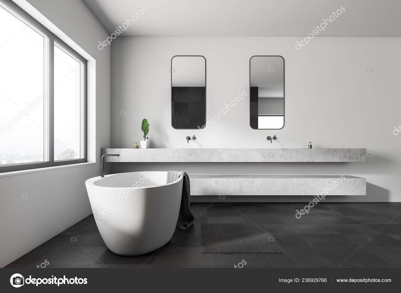 Vue Côté Salle Bains Moderne Avec Des Murs Blancs Noir U2014 Photo